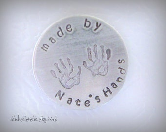 Personalized Magnet - Refrigerator Magnet - Childrens Name - Hand Print Stamps - Hand Stamped Custom Magnet - Gift for Mom Nana Grandma