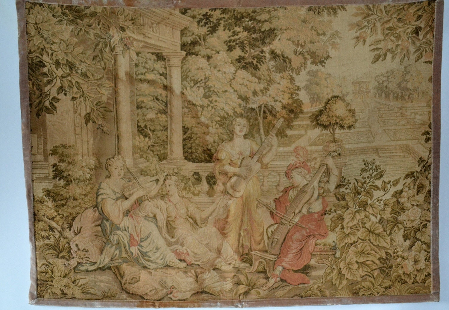 vintage french rococo tapestry made in france. Black Bedroom Furniture Sets. Home Design Ideas
