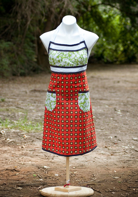 Orange Abstract and Flowers Emmeline SINGLE SIDE Apron