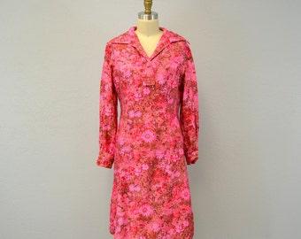 HOT PINK floral dress shirtwaist mini spring fashion print / medium IngridIceland metal zipper