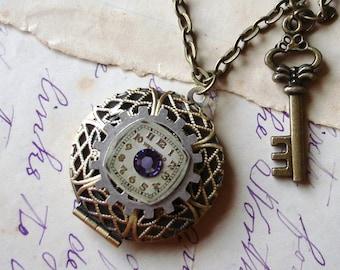 Sweet Secret Hiding Place Filigree Locket Necklace Vintage Watch Dial Swarovski Crystal     C 3-16/128