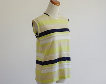 Vintage Striped Tank, 60s 70s Sleeveless Blouse, Lime Green Navy Beige Top, Preppy Tank Top, Sleeveless Shirt, Medium Large Bust 38 40