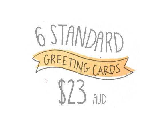 """Any 6 Standard Greeting Cards Pack by Honey Cup - C6 greeting card 11w x 15.5 h cm (4.4x6.1"""")."""