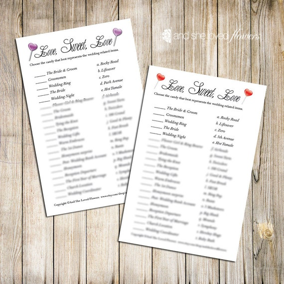 Candy Match Bridal Shower Game -- Printable