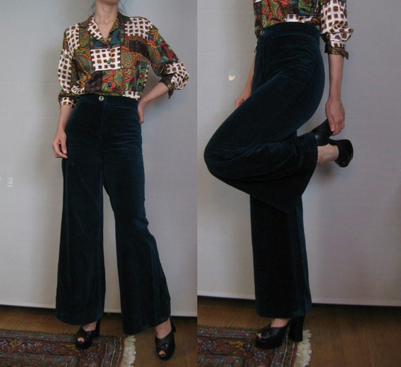 Vintage 60s 70s MONTREAL JADE VELVET Wide Leg Cotton Hiphugger High Waisted Pants Small