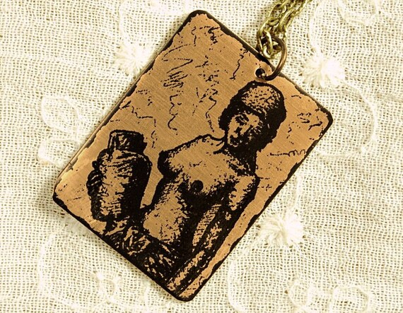 Nasha Necklace - Etched Fused Glass on Bronze Jewelry