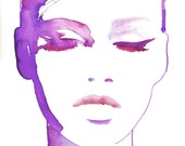Fashion Illustration Print, Watercolor Fashion Illustration, Fashion Illustration wall art, Fashion Poster, Fashion Art, Eyeliner art