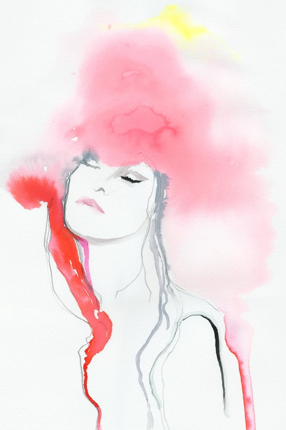 Original Watercolor Painting, Fashion Illustration,Titled: Tahiti Red