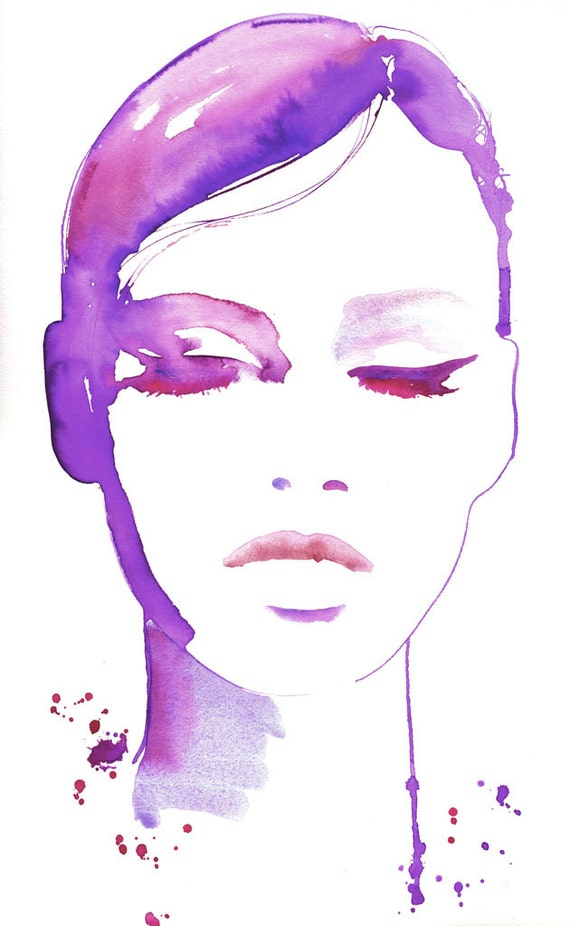 Fashion Illustration Print, Watercolor Fashion Illustration, Fashion Illustration wall art, Fashion Poster, Fashion Art, Eyeliner art