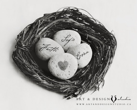 Family Name Art, Mom Nest, Personalized Name on Stone, Mom Print, Birthday Gift for Her, Gifts for Her, Art for Her, Mom Gift, Mothers Gift