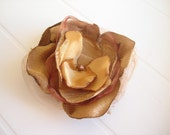 Mustard yellow fabric flower brooch or hair