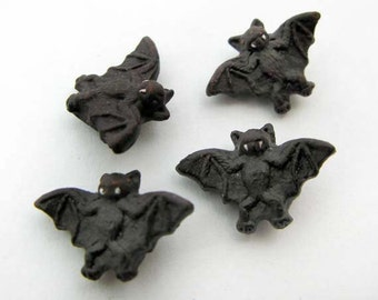 4 Tiny Brown Bat Beads