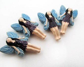 10 Large Fairy Beads - Blue wings - LG201