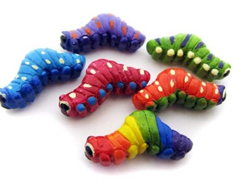 10 Large Mixed Caterpillar Beads