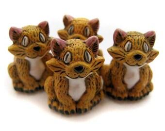 4 Ceramic Beads - Large Cute Orange Cat - LG30