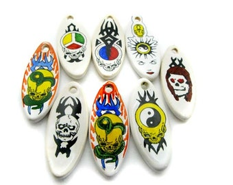 10 Large Surf Board Beads - Tribal mix