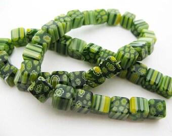 Green with Yellow Cube Millefiori Beads - CG072