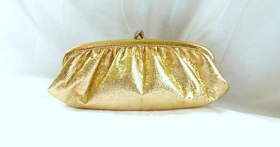 1950s gold handbag clutch / 1950s vintage gold Handbag Bag Clutch