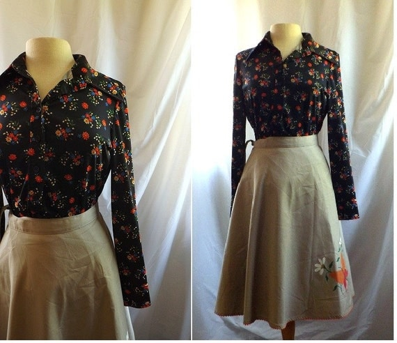 Wrap Skirt / vintage 70s Butterfly Garden Skirt Blouse Shirt Set / Butterfly Garden