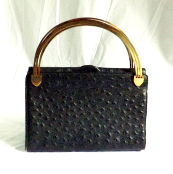 1950s handbag / vintage 1950s faux reptile black purse / black reptile handbag