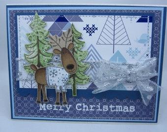 Blue Christmas Reindeer - Blank NoteCard, Greetings Card, Handmade Card
