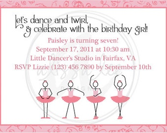 Ballerina / Dance Birthday Invite