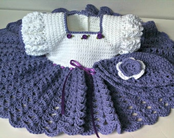 Crochet cotton baby dress, purple and white baby dress