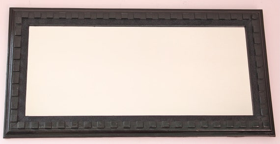 Large Rectangle Deco Mirror finished in Glossy Black paint w/ Black Glitter