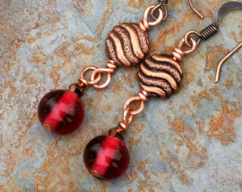 Red Copper Earrings, Red Earrings, Glass Earrings,  Beaded Earrings,  Bohemian Jewelry, Bohemian Earrings, Etched Copper Wave Beads