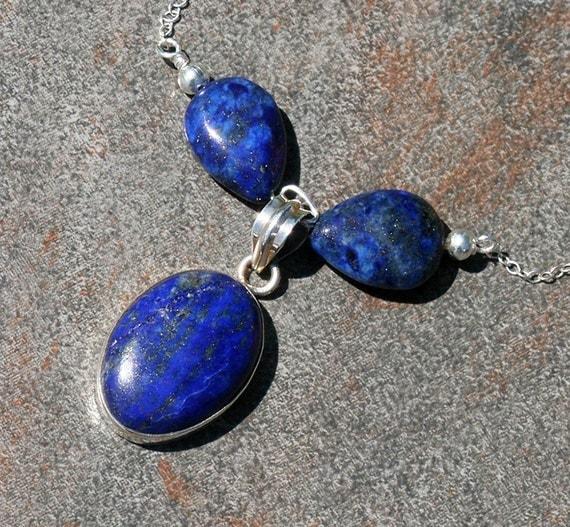 September Necklace, Blue, Lapiz, Lapis Lazuli, Beaded, Natural Stone