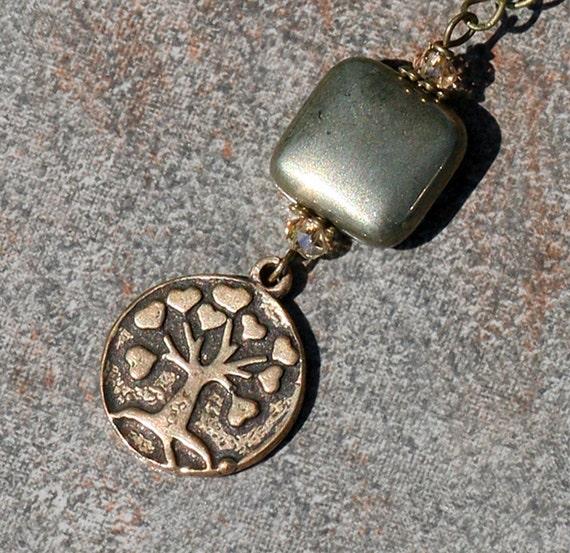 Tree of Life Necklace, Bronze, Bronzite, Autumn Jewelry, Brown Stone
