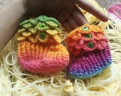 Free Shipping - Rainbow Crocodile Stitch Booties 6-12 Months