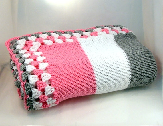 Striped Knitted Youth Blanket  with Granny Square Edge in Pink Gray and White