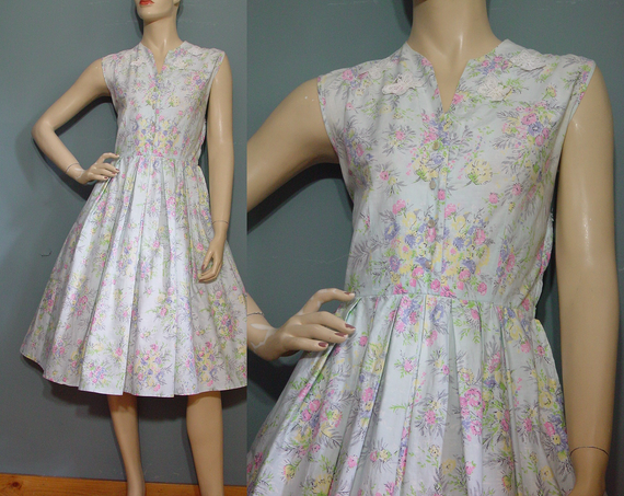 50s Day Dress Vintage 1950s White Floral Applique Butterfly Cotton Sleeveless Garden