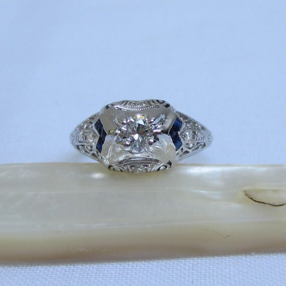 RESERVED. Art Deco Platinum Engagement Ring. Diamonds and Sapphire. Addy on Etsy.