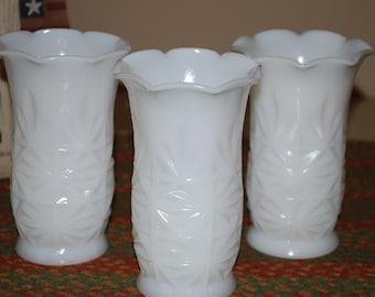 Set of Three Antique Hazel Atlas Milk Glass Vases
