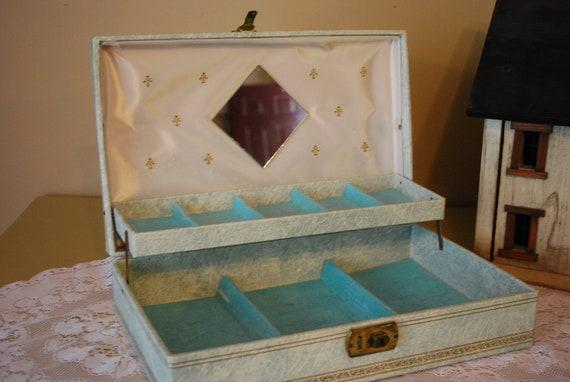 Vintage Gold Stars on Powder Blue Mele Jewelry Box
