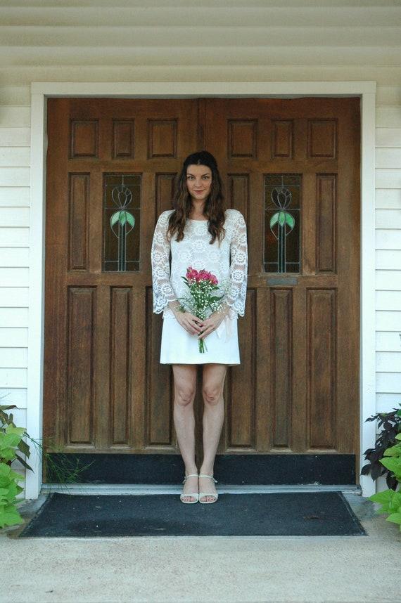 Mod lace wedding dress mod 1960 s mini lace wedding dress with pale
