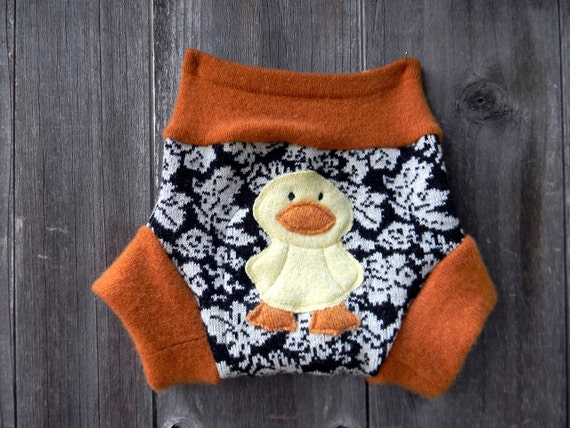 Upcycled Wool/Cashmere Soaker Cover Diaper Cover With Added Doubler Black/White Pattern/Orange With Ducky Applique  SMALL 3-6M Kidsgogreen