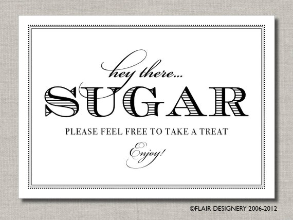 Hey There Sugar - 8 x 10 Wedding Sign, Dessert Bar or Candy Bar Sign by Abigail Christine Design