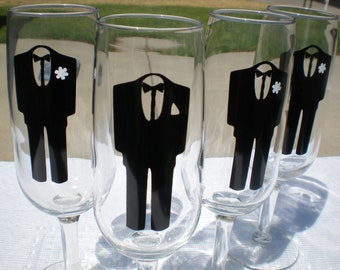 4 Groomsmen Tux Vinyl decals - Decals for Glasses/Bridal Party -  Vinyl Decals - GLASSES NOT INCLUDED Tuxes - Men