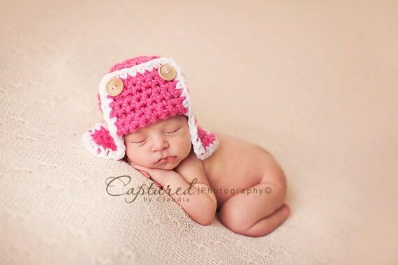 Amelia Pink AVIATOR Hat Bomber Newborn Photo Prop