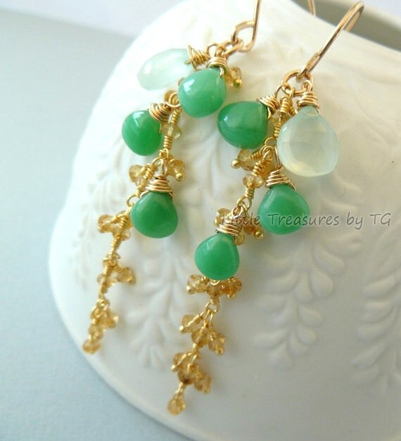 Green Chrysoprase, yellow Citrine and Aqua Chalcedony wire wrapped earrings. Handmade jewelry. Summer fashion. Trendy Modern jewelry