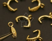 PS-061-GD / 10 Pcs - Medium Pattern C-type Pinch Bail, Gold Plated over Brass / 9mm
