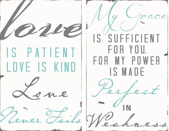 Custom listing for meganziessler only -LOVE Is Patient -My Grace - Distressed Signs in custom colors- Vintage Typography Word Art