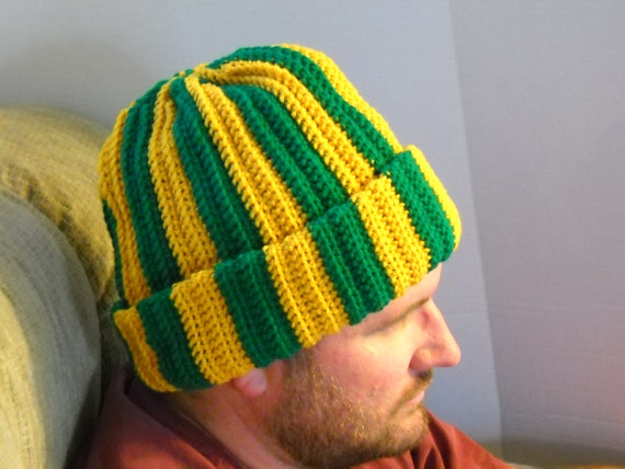 Mens Winter Hat Cap Green Bay Packer Colors Stripes Size Xl
