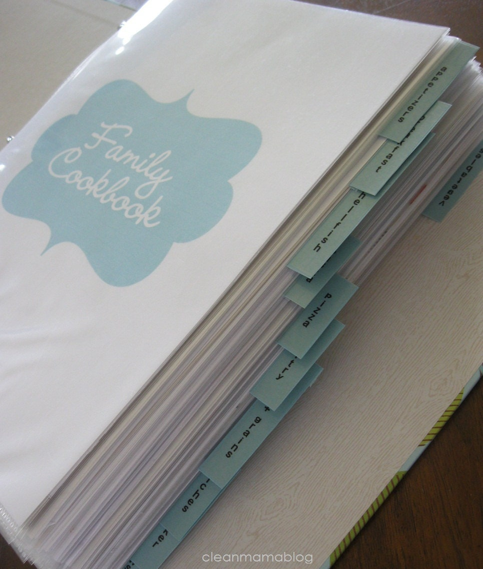 Clean Mama's RECIPE Binder Kit 42 By CleanMamaPrintables