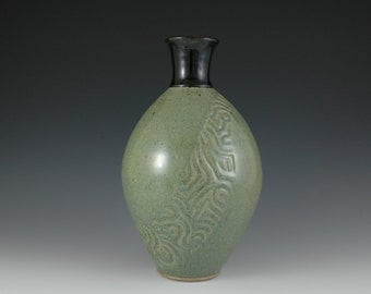 Green Stoneware Vase With Carved Design