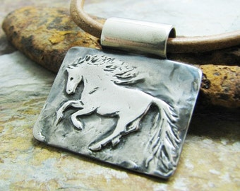 Silver Horse Jewelry, Artisan Fine Silver Rustic Style Horse Pendant by SilverWishes, PMC Jewelry