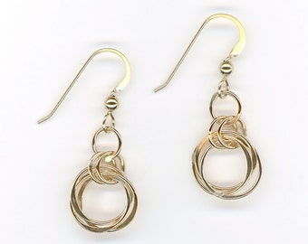Gold Circle Wire Earrings Chainmaille Gold Wire Jewelry Handcrafted Jewelry Handmade Earrings Birthday Gift Women